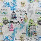 BonEful Fabric FQ Cotton Quilt Gray White Blue Flower Love Bird Cage Poem Lady S