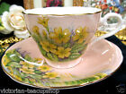 VINTAGE AYNSLEY TEA CUP AND SAUCER PEACH AND FLORAL TEACUP