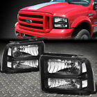 BLACK HOUSING CLEAR CORNER HEADLIGHT+BUMPER LIGHT FOR 05 07 F250 F550 SUPERDUTY