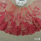 1Y Red Tulle Embroidery Floral Lace Fabric Wedding Trim DIY Doll Dress L2516