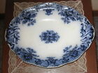 KESWICK ROYAL SEMI PORCELAIN WOOD & SONS ENGLAND FLOW BLUE OVAL SERVING BOWL