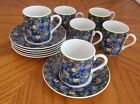 6 Espresso Cups and Saucers Blue with Floral Design and Green Trim Japan