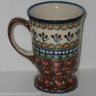 Unikat Polish Pottery Footed Coffee Mug Teresa Liana Blue Rim Brown