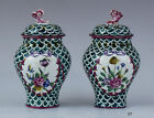 Great Pair c1750-1800 Veuve Perrin Faience Green Potpourri Vases