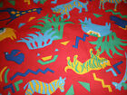 Fabric Hoffman California Cotton House 3 1/2 +  YDS Red Jungle Zoo Animal Print