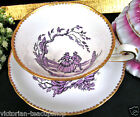 ROYAL CHELSEA TEA CUP AND SAUCER PURPLE COURTING COUPLE PATTERN TEACUP