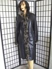 MINT BLACK LEATHER COAT W/ CURLY LAMB FUR TRIM WOMEN WOMAN SIZE 8-10 MEDIUM