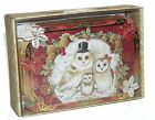 Vtg Style Die Cut Embellished Snowy Barn Owl Family Christmas Card Box 10 Sealed