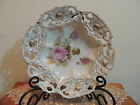 Antique Old Paris Porcelain Reticulated Pink Open Rose Centerpiece Serving Bowl
