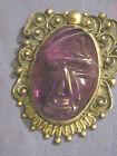 Vtg. Mexico Sterling Silver Pin Brooch Pendant Carved Oval Amethyst Face ERR