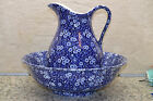 Crownford China Co Calico Chintz Pitcher & Bowl Staffordshire England