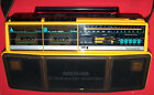 Magnavox Dual Deck Stereo Radio Cassette Recorder Model D 8300 Boombox w/Strap