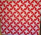 ANTIQUE RED AND WHITE QUILT TOP DRUNKARDS PATH DATED 1891