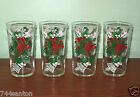 Set of 4 Hazel Atlas Christmas Holly Bell Glass Tumblers MINT Red Green