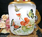 BAVARIA GERMANY STUNNING PAINTED BLOSSOM & BUTTERFLY VASE ARTIST SIGNED