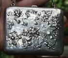 Beautiful Old Antique Victorian Hand Chased Repousse Sterling Silver Purse