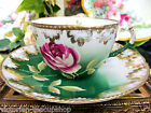 GERMANY HANDPAINTED TEA CUP AND SAUCER ROSES PATTERN TEACUP