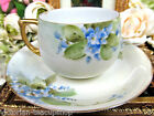 GERMAN AUSTRIA TEA CUP AND SAUCER BLUE PAINTED FLOWERS  PATTERN TEACUP