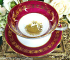 STAFFORDSHIRE TEA CUP AND SAUCER 24KT GOLD COURTING COUPLE PATTERN TEACUP