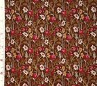 FABRIC 1YD GARDEN CALICO Rustic Roses Daisies Brown Garnet Historical Memories