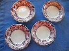 4 Small Bowls PURPLE or MULBERRY Transferware, JANE, Royal Staff - England MINT