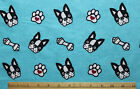 SNUGGLE FLANNEL  BOXER DOGS  PAWS on AQUA BLUE  100 Cotton Fabric NEW BTY