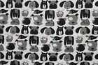 SNUGGLE FLANNEL  BLACK  GRAY DOGS FACES on WHITE Cotton FabricNEW BTY