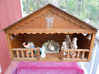 NATIVITY WOOD CRECHE STABLE MANGER ONLY HOLY FAMILY VINTAGE CHRISTMAS