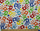 SNUGGLE FLANNEL  AUTISM PUZZLE HANDS on WHITE 100 Cotton Fabric NEW BTY