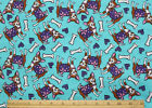 SNUGGLE FLANNEL CHIHUAHUA DOGSHEARTS BONES on AQUA BLUE 100 Cotton NEW BTY