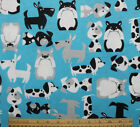 SNUGGLE FLANNEL BLACK GRAY WHITE DOGS on AQUA BLUE 100 Cotton NEW BTY