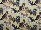 SNUGGLE FLANNEL BROWN BLACK PUPPY DOG BREEDS on TAN 100 Cotton Fabric NEW BTY