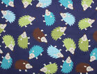 SNUGGLE FLANNEL MULTICOLOR HEDGEHOGS on NAVY BLUE 100 Cotton Fabric NEW BTY