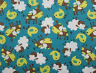 SNUGGLE FLANNEL BABY FARM ANIMALS on TURQUOISE 100 Cotton Fabric NEW BTY