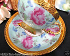 BAVARIA GERMANY TEA CUP AND SAUCER GOLD GILT BABY BLUE FLORAL TEACUP PATTERN