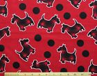 SNUGGLE FLANNELRED BLACK PLAID SCOTTIE DOG  DOTS on RED 100 Cotton Fabric BTY