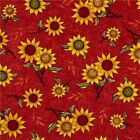Sunflower Bouquet Sunflowers Tossed on Cayenne Red Cotton Fabric Fat Quarter