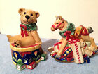FITZ & FLOYD OLD FASHIONED CHRISTMAS SALT & PEPPER BEAR SITTING DRUM HORSE TOYS