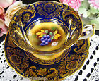 PARAGON TEA CUP AND SAUCER RARE PAINTED ARTIST SIGNED TEACUP COBALT BLUE