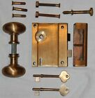 VINTAGE NOS P.F. CORBIN HEAVY DUTY BRASS MORTISE DOOR KNOB LOCK SET W/ 2 KEYS