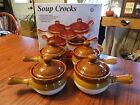 Tan Stoneware Soup Crocks with Handles and Lids  ~NEW IN BOX~