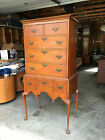 DIMINUTIVE ANTIQUE AMERICAN QUEEN ANNE HIGHBOY In maple and tiger maple  27'wide
