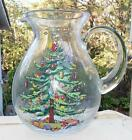 Spode Christmas Tree 96 Oz Glassware Glass Pitcher Jug 8 1/2