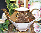 GIBSONS MADE IN ENGLAND TEAPOT GOLD GILT  ETCHED FLORAL PATTERN EUROPA SHAPE