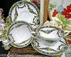 2 WORCESTER TEA CUP AND SAUCER PAINTED ROSE GARLAND TEACUP CREAM SOUP BOWL