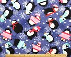 SNUGGLE FLANNEL PENGUINS  SNOWFLAKES on PURPLE 100 Cotton Fabric NEW BTY