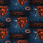 NFL Football Chicago Bears on Marbled Blue Cotton Fabric by the Yard