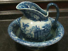 Victoria Ware English Ironstone Flow Blue Wash Basin Bowl and Pitcher