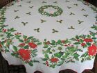 VINTAGE TABLECLOTH CHRISTMAS POINSETTIAS HOLLY PINECONES 70 Round