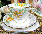 BELL CHINA TEA CUP AND SAUCER TRIO HANDPAINTED DECO PATTERN YELLOW FLORAL